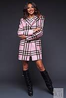Кашемировое пальто в клетку с капюшоном и карманами, цвет пудра. Арт-9468/17