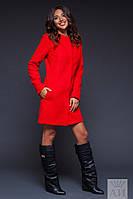 Модное красное  кашемировое пальто на клепках  с карманами. Арт-9469/17