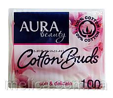 Ватные гигиенические палочки Aura Beauty п/э - 100 шт.