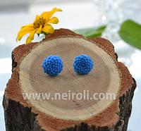 """Серьги """"Голубые мини хризантемы"""". Ручная работа"""