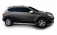 """Рейлинги Nissan Qashqai 2014+  Crown (тип skyport), сплошный алюминий, цвет """"Черный"""""""