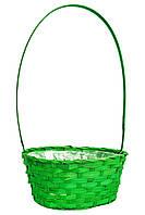 Корзина для цветов из лозы зеленая 52х28 см