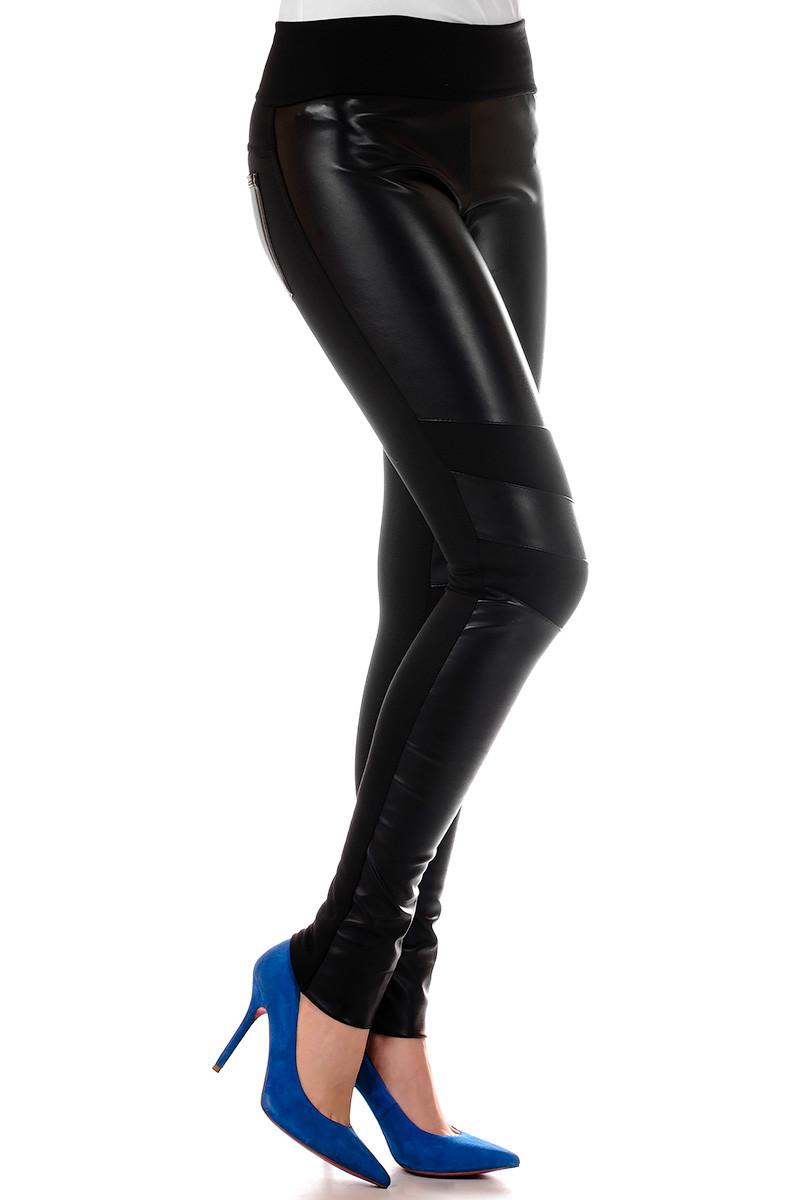 Женские леггинсы с кожаными вставками Irvik L737 черный