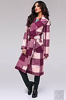 Стильное  пальто в крупную  клетку на подкладке с поясом, цвет марсала. Арт-9471/17