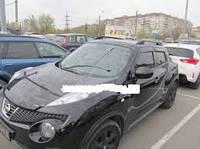 """Рейлинги Nissan Juke 2010+  Crown (тип skyport), сплошный алюминий, цвет """"Черный"""""""