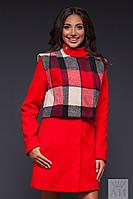 Красное пальто со съемным болеро, на подкладке. Арт-9473/17