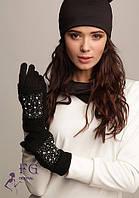 Кашемировые перчатки с вязанными митенками 002