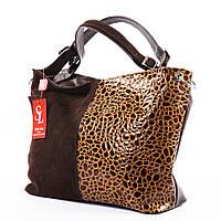 Коричневая замшевая лаковая сумка-мешок