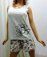 Пижама женская- майка на широкой бретельке и шорты, 44-56 размеры серый с розовым