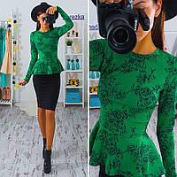 Костюм  (юбка+блузка) зеленый