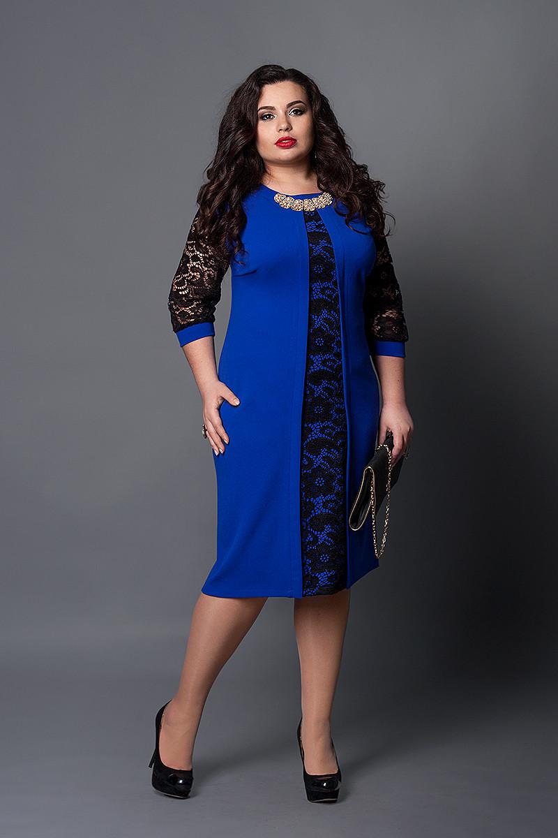Сукня мод №505-17, розмір 60 електрик з чорним
