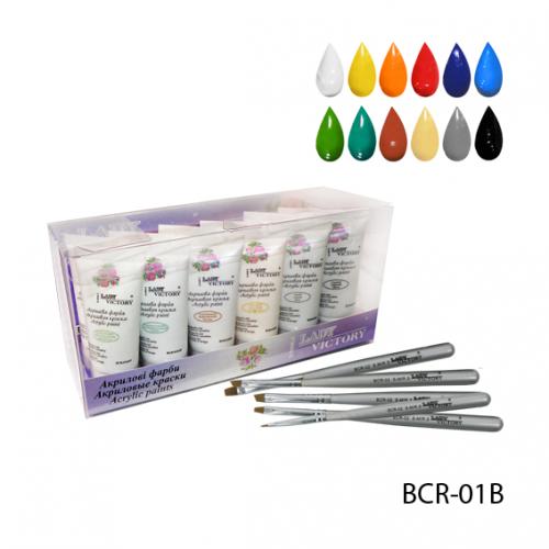 Набор глянцевых художественных акриловых красок BCR-01B_LeD