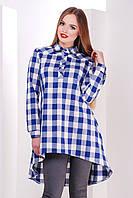 Платье-рубашка в клетку с ассиметричным низом сукня-сорочка Танзана д/р