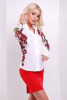 Белая блузка белая классическая Узор красно-желтый блуза Ларси-3 д/р