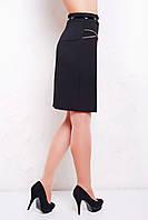 Черная офисная юбка до колен мод. №17