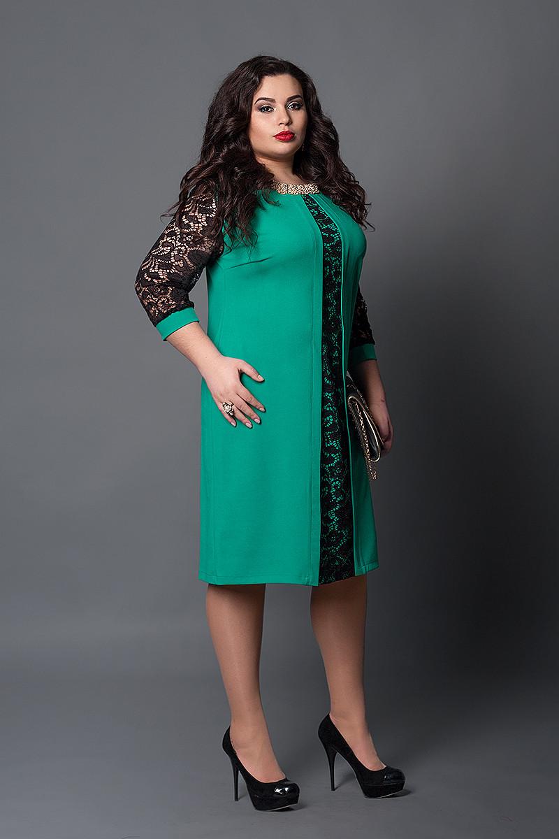 Платье мод №505-8, размер 52 бирюза с черным