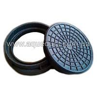 Крышка колодца полимер-песчаная д 315 черная Garden