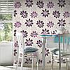 Фактурные моющиеся немецкие обои 290038, с большими и яркими фиолетовыми цветами лотоса на белом фоне, фото 8