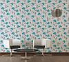 Фактурні німецькі шпалери 306210 з яскраво блакитними квітами на теплому білому, молочному тлі, вінілові для дівчинки, фото 9