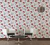 Фактурні німецькі шпалери 306227 з яскравими червоними квітами на теплому білому, молочному тлі, вінілові для дівчинки, фото 2