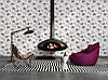 Фактурні німецькі шпалери 306234, з яскравими пурпуровими і фіолетовими квітами на теплому білому, молочному тлі, фото 9