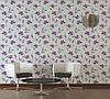 Фактурні німецькі шпалери 306234, з яскравими пурпуровими і фіолетовими квітами на теплому білому, молочному тлі, фото 10
