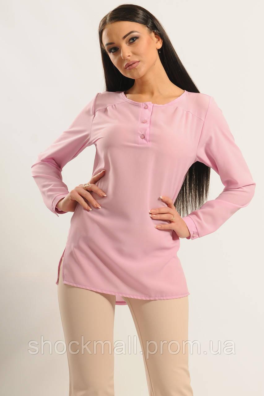 Женская розовая блузка из шифона