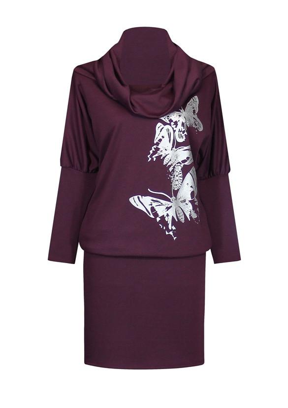 Трикотажное платье летучая мышь с широким воротом - фото teens.ua