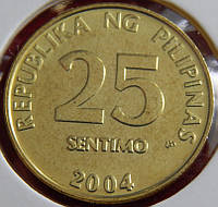 Монета Филиппин 25 сантимов. 2004 год.
