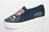 Джинсовые подростковые слипоны. Спортивная подростковая обувь кеды от фирмы Tom.m 0194A (8пар 33-38)
