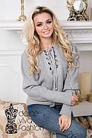 Пуловер женский на шнуровке