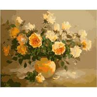 Картина по номерам Нежно-желтые розы