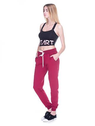 Штани жіночі спортивні на флісі, бордо, фото 2