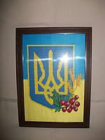"""Вышитая картина для интерьера """"Герб Украины"""""""