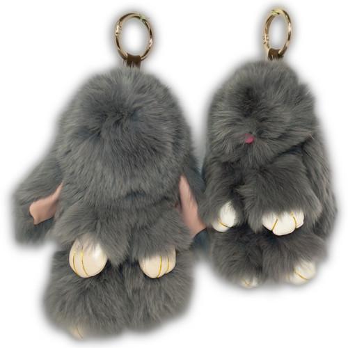 Меховой брелок кролик, KM01, 13 см.