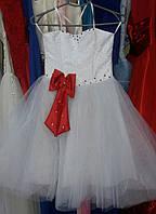 """Детское платье """"Кукла"""" белое с красным бантом (ДП-17-05) на 5-7 лет"""