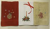 Набор из 3 махровых полотенец с вышивкой 40*70см (красное, белое, бежевое)