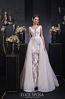 Кружевное свадебное платье с юбкой трансформером