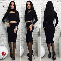 Модный черный  трикотажный  юбочный костюм с чокером. Арт-9482/77