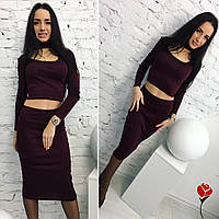 Модный бордовый  трикотажный  юбочный костюм с чокером. Арт-9482/77