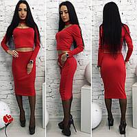 Модный красный  трикотажный  юбочный костюм с чокером. Арт-9482/77