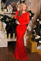 Платье женское длинное гипюровое на подкладке P4958