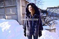 Шубка из меха скандинавской норки, цвет графит, рукав летучая мышь, фото 1