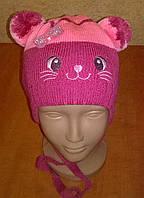Демисезонная утепленная шапка для девочек на флисе, фото 1