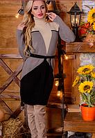 Вязаное платье Корсет бкапучино+ беж 42-48