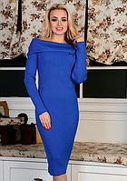 Вязаное платье Ксюша вязаный трикотаж 42-48р электрик