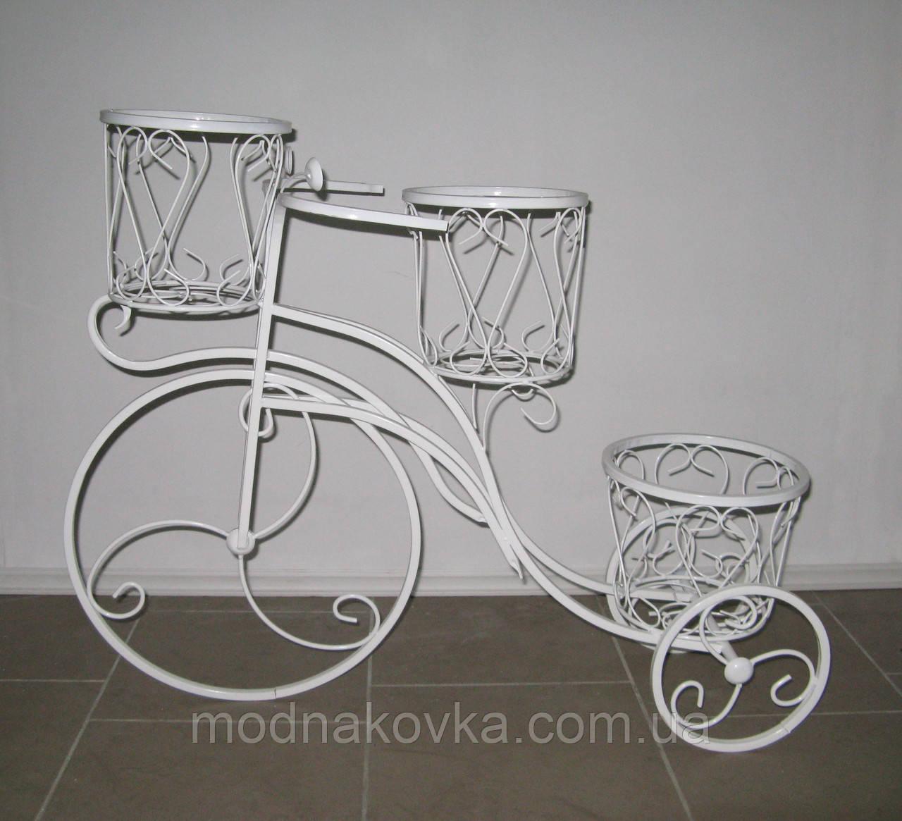 Кованая подставка для цветов Велосипед средний, белый