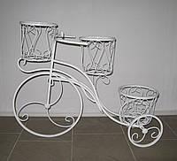 Кованая подставка для цветов Велосипед средний, белый, фото 1