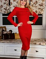 Вязаное платье Ксюша вязаный трикотаж 42-48р красный