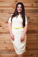 Молочное платье батал с поясом из кожзама. Арт-9486/77